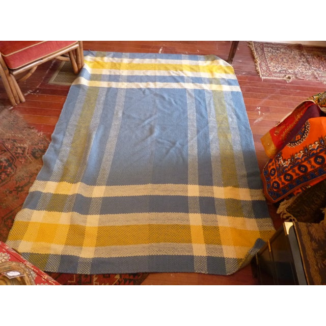 Vintage Blue and Yellow Wool Throw - Image 4 of 6