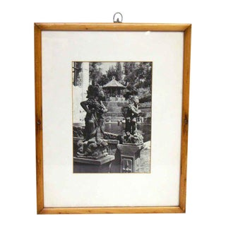 Chinese Statue Black & White Photograph in Pine Frame