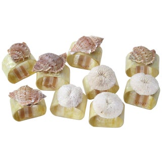 Seashell & Sand Dollar Napkin Rings - Set of 9