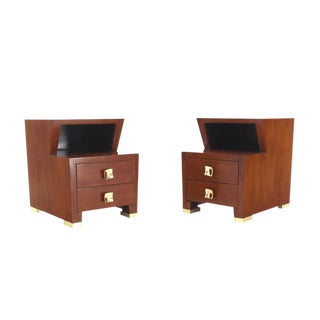 Pair of Art Deco Burl Wood End Tables Nightstands with Brass Hardware Pulls