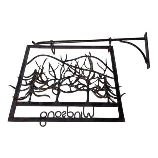 1970s Forged Iron Folk Art Sign
