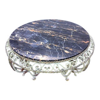 Painted Wrought Iron Marble-Top Coffee Table in the Manner of Gilbert Poillerat