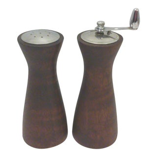 Mid-Century Wood Salt Shaker and Pepper Grinder - A Pair