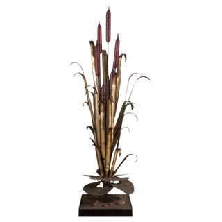 A Large Floor Standing Copper Reed Lighting Sculpture, 1970s