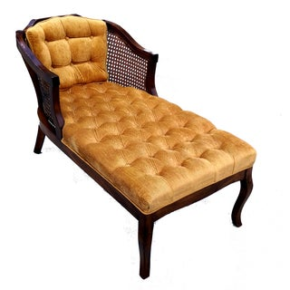 Vintage Honey Tufted Cane Back Chaise