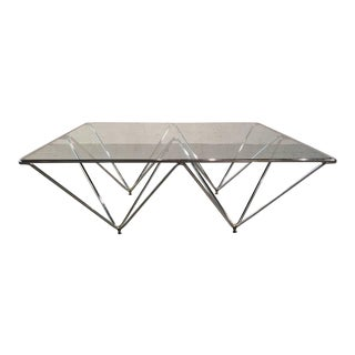 Paola Piva Style Chrome & Glass Cocktail Table