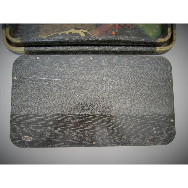 Image of Mid-Century Hand Painted Black Trays - Set of 3