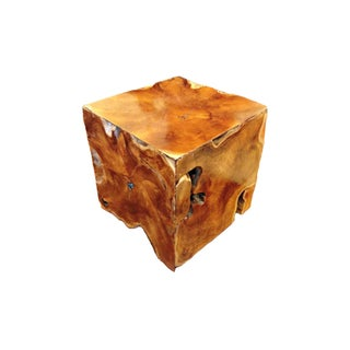 Large Teak Cube Side Table