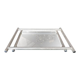 Italian Rectangular Tray with Spiral Silver Frame, 1960s