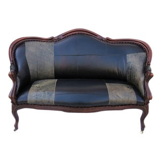 Antique Leather Upholstered Settee