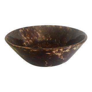 Antique Early 1900's Spatterware Tortoise Brown Stoneware Ceramic Handmade Serving Bowl