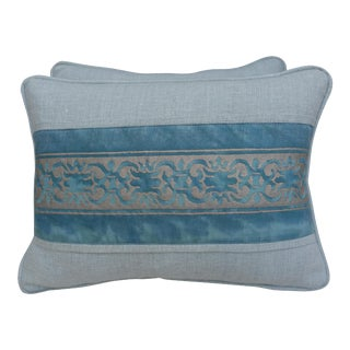 Vintage Printed Fortuny Textile Pillows - A Pair