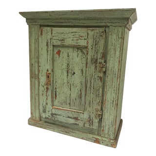 Antique European Chippy Paint Storage Cabinet