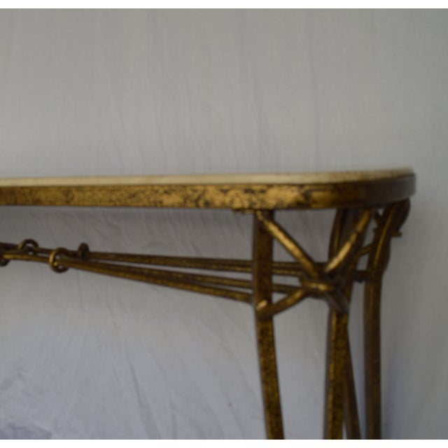 1970s Gold Leaf Console with Travertine Top - Image 4 of 7