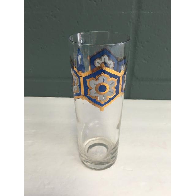 Image of Blue & Gold Foil Highball Glasses - Set of 4