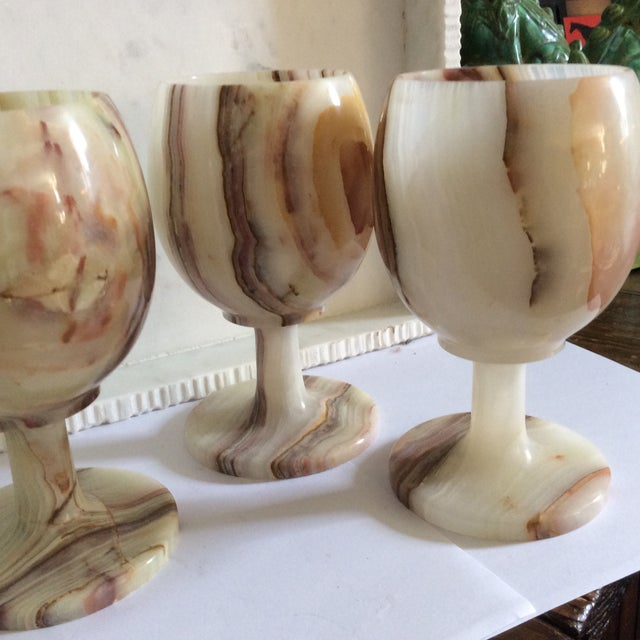 Carved Onyx Wine Glass Goblets - Set of 6 - Image 7 of 8