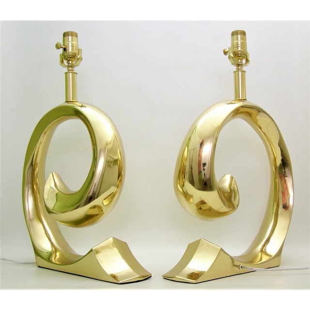 Restored Pierre Cardin Mid-Century Modern Solid Brass Logo Designer Lamps - a Pair Millennial - Image 5 of 11