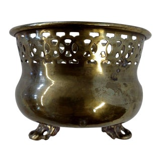 Intricate Antique Footed Brass Mini Planter