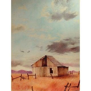 Western Prairie Landscape Watercolor