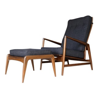 Folke Ohlsson for Dux Reupholstered Danish Solid Walnut Reclining Chair & Ottoman