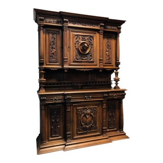 Late 19th / Early 20th Century French Carved Walnut Buffet a Deux Corps