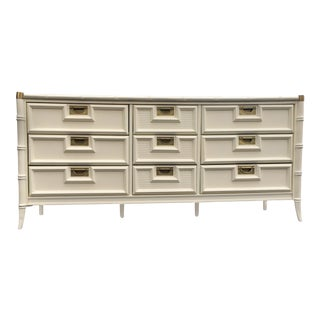 White Lacquered Faux Bamboo Lowboy