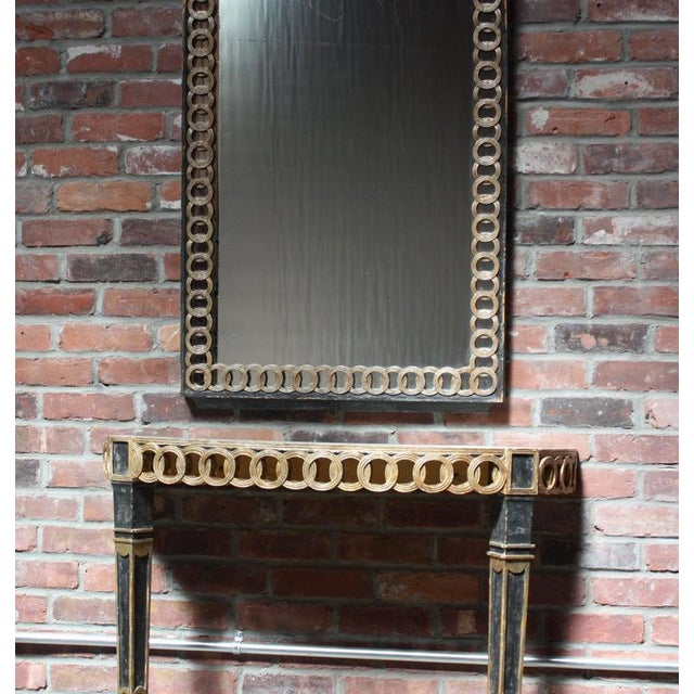Italian Palladio Parcel Paint and Gilt Demilune Console and Mirror - Image 4 of 10