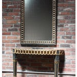 Image of Italian Palladio Parcel Paint and Gilt Demilune Console and Mirror