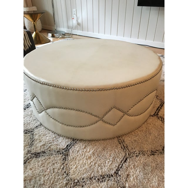Custom Stud Leather Coffee Table With Brass Tray - Image 2 of 7