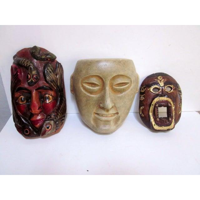 Decorative Carved Masks & Buddha Statue - Set of 3 - Image 2 of 8