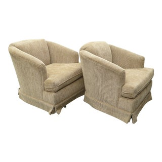 Vintage Dunlap Mid-Century Style Tan Swivel Chairs - A Pair