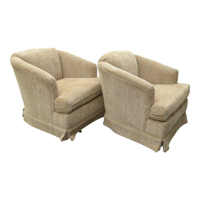 Vintage Dunlap Mid-Century Style Tan Swivel Chairs - A Pair - Image 1 of 9