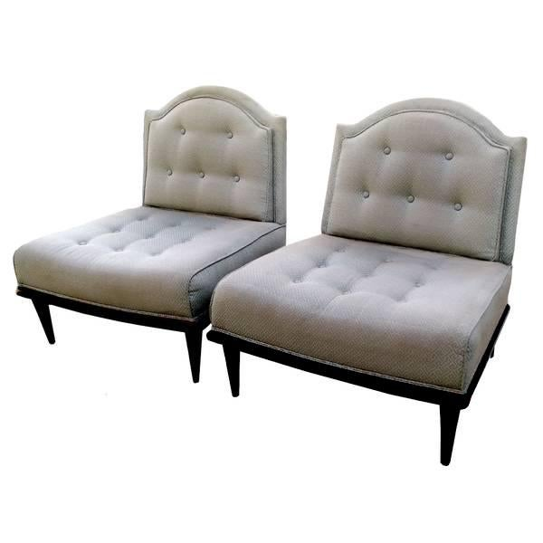 Image of Vintage Low Back Convertible Slipper Chairs - Pair