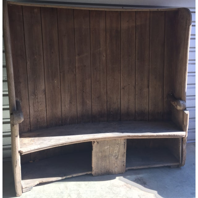 18th Century English Pine Curved Settle Bench - Image 2 of 11