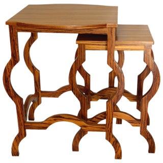 Modern Zebra Wood Nesting Tables - A Pair