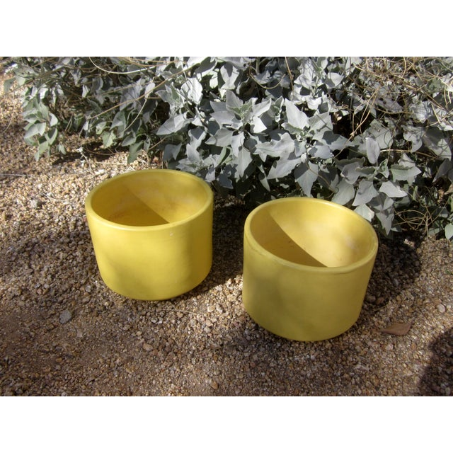 Yellow Gainey Mid Century Modern Pots - Pair of 2 - Image 6 of 9