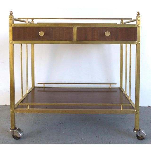 Bi-Level Brass Rolling Bar Trolley W/ Wood Accents - Image 10 of 10