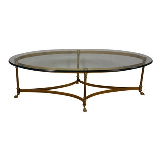 Hollywood Regency Brass & Glass Coffee Table