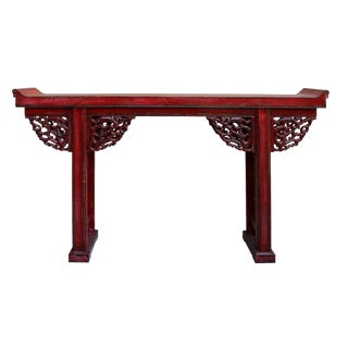 Chinese Distressed Red Lacquer Dragon Motif Apron Altar Console Table
