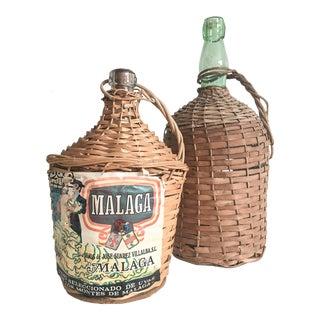 Vintage Spanish Demijohn Wine Bottles- Set of 2