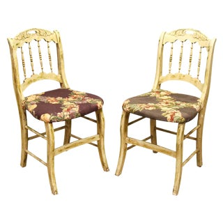 Pair of Wooden Chairs With Floral Seat