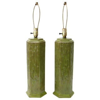 Mid-Century Green Glazed Ceramic Bamboo Motif Table Lamps- A Pair