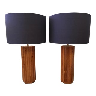 Mid-Century Wood Table Lamps - A Pair