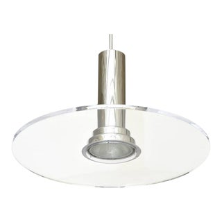 Signed Fredrick Ramond Etched Lucite and Chromed Metal Pendant Light