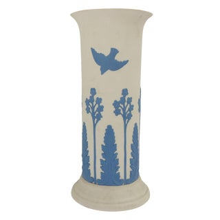 Ecanada White & Blue Art Pottery Vase
