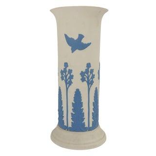 Ecanada White & Blue Art Pottery Vase