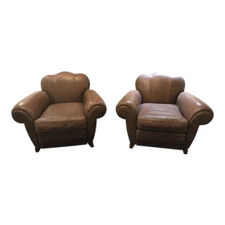 French Leather Club Chairs- A Pair
