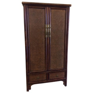 Vintage Faux Bamboo Armoire Media Cabinet