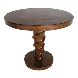 Custom Walnut Cork Screw Pedestal Side Table
