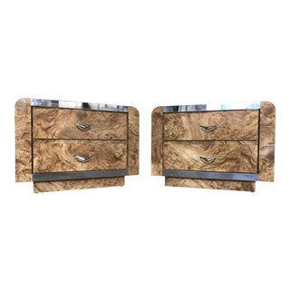 Faux Burl Wood & Chrome Nightstands - A Pair